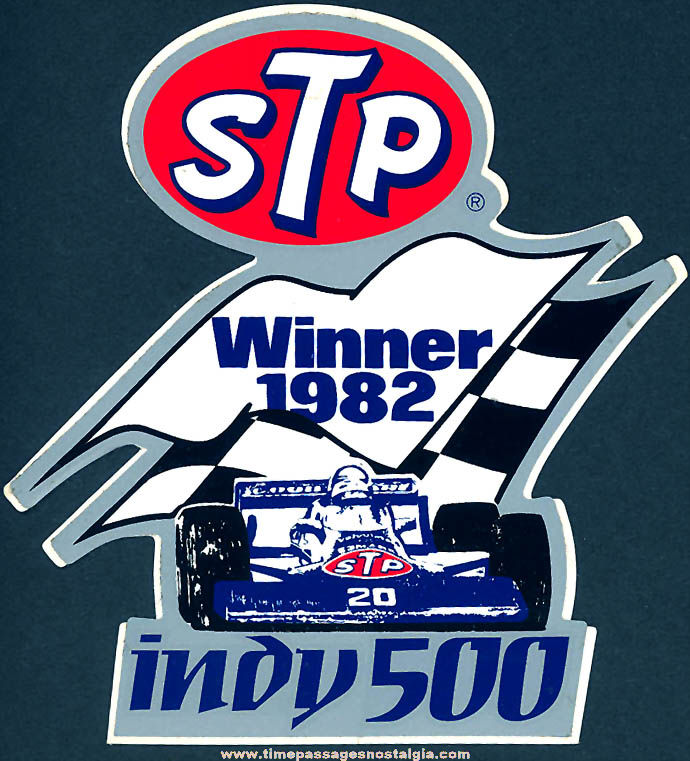 Colorful Unused 1982 Indianapolis 500 Winner STP Advertising Paper Sticker