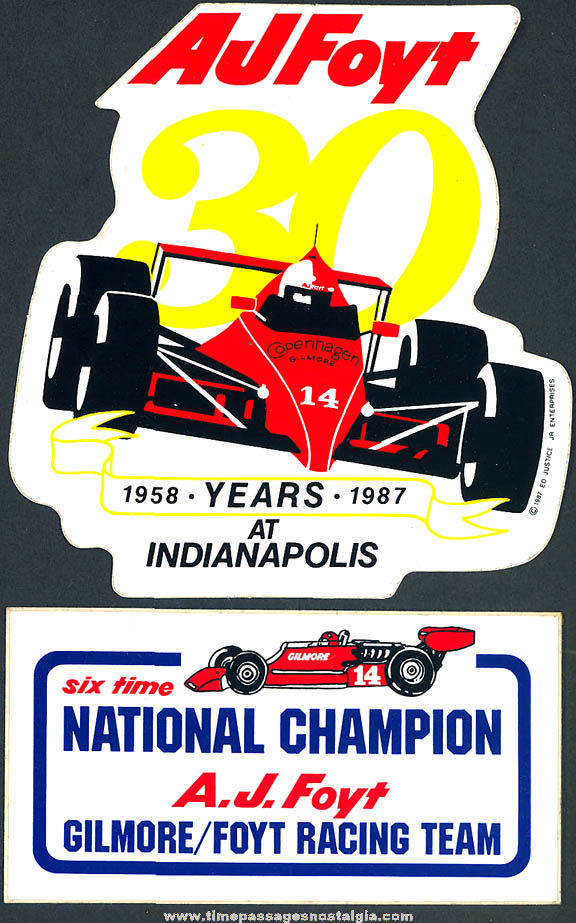 (2) Colorful Old Unused A. J. Foyt Indianapolis 500 Racing Team Advertising Paper Stickers