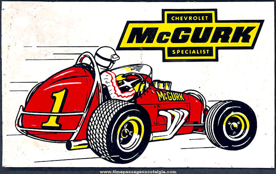 Colorful Old McGurk Chevrolet Midget Auto Racing Advertising Sticker