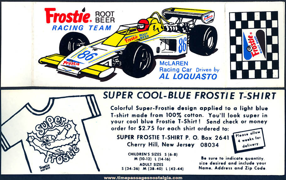 (2) Colorful Old Unused Frostie Root Beer Auto Racing Advertising Stickers With Premium Offer
