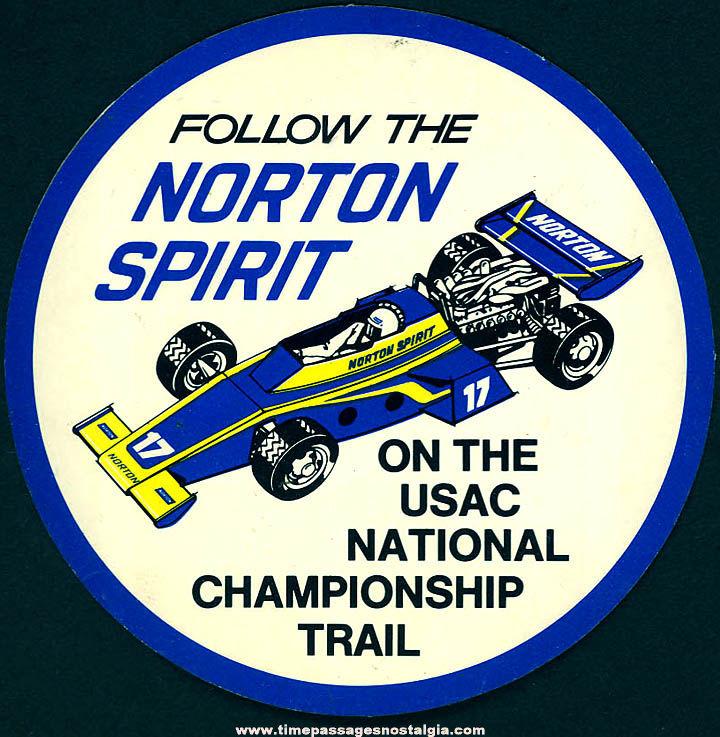 Colorful Old Unused Norton Spirit Auto Racing Advertising Sticker