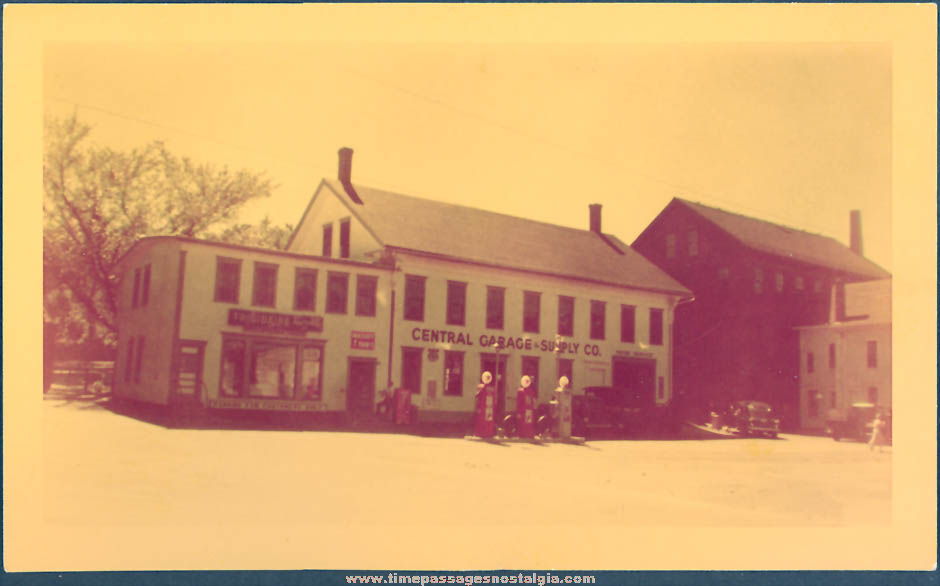 (2) different 1940s Central Garage & Supply Company Store and Gas Station Photographs