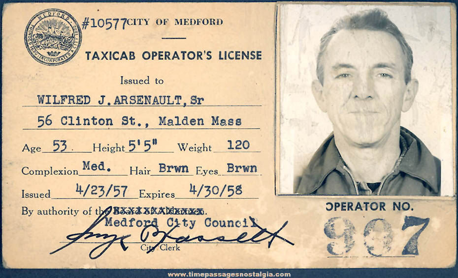 1957 - 1958 City of Medford Massachusetts Taxi Cab Driver Photo ID License