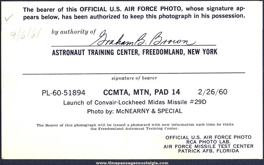 1961 Freedomland U.S.A. United States Air Force Midas Missile Advertising Souvenir Picture Card