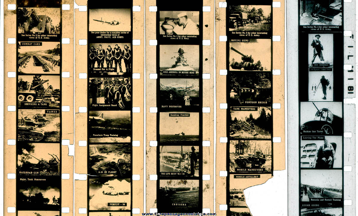 (5) Boxed U.S. Navy & U.S. Army World War II Action Acme Film Strips