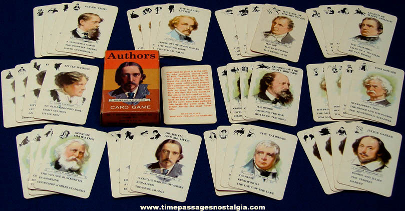 Colorful Old Unused & Boxed Whitman Authors Miniature Card Game