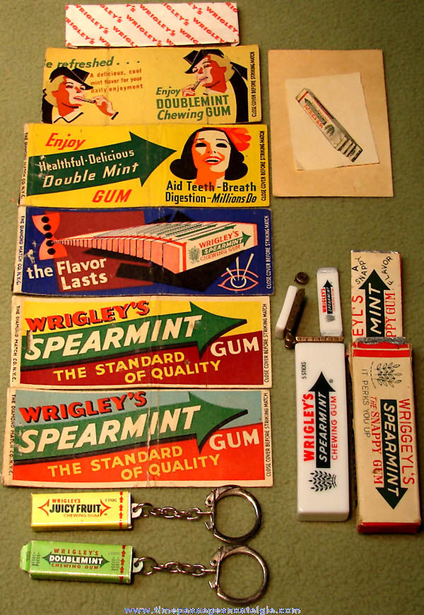 (11) Different Small Wrigley's Chewing Gum Advertising and Novelty Items