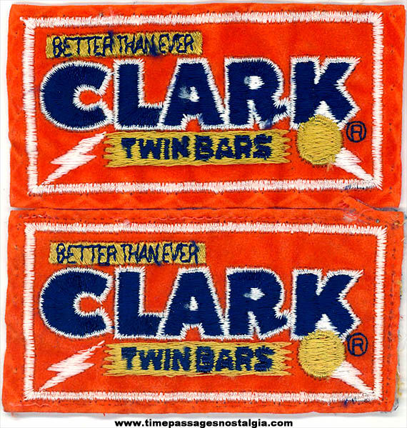 (2) Colorful Old Clark Candy Bar Advertising Embroidered Cloth Patches