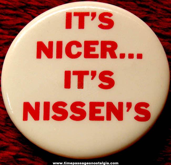 Old Nissen's Bakery Advertising Premium Pin Back Button