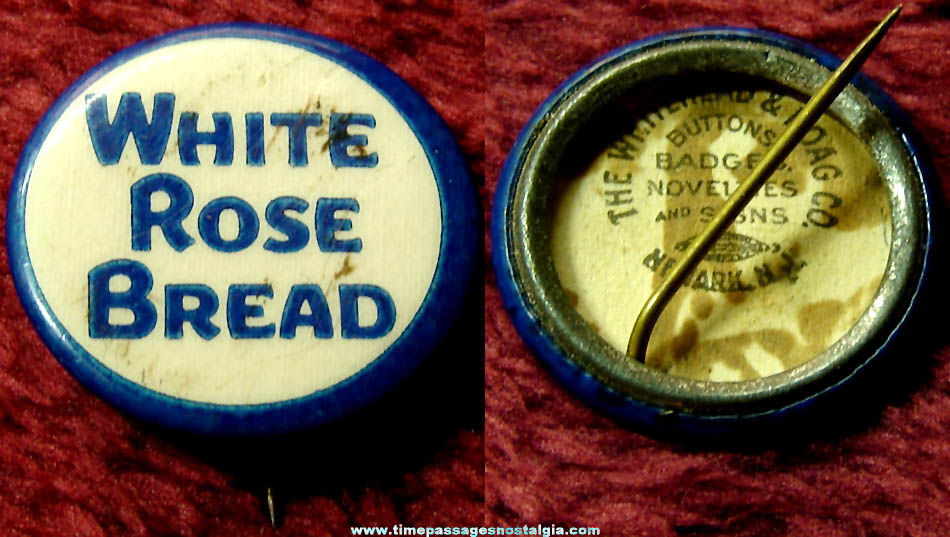 Old White Rose Bread Advertising Premium Celluloid Pin Back Button