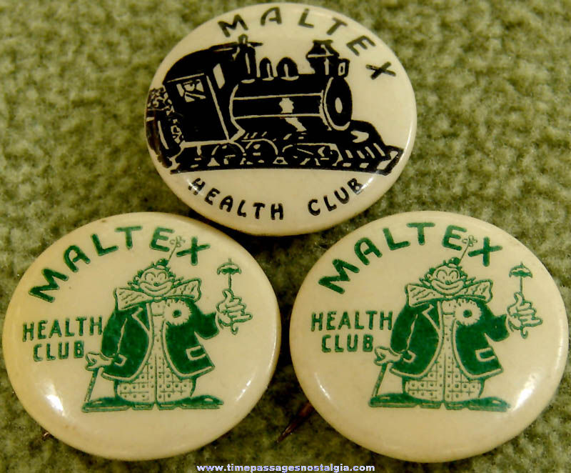 (3) Old Maltex Cereal Health Club Advertising Premium Celluloid Pin Back Buttons