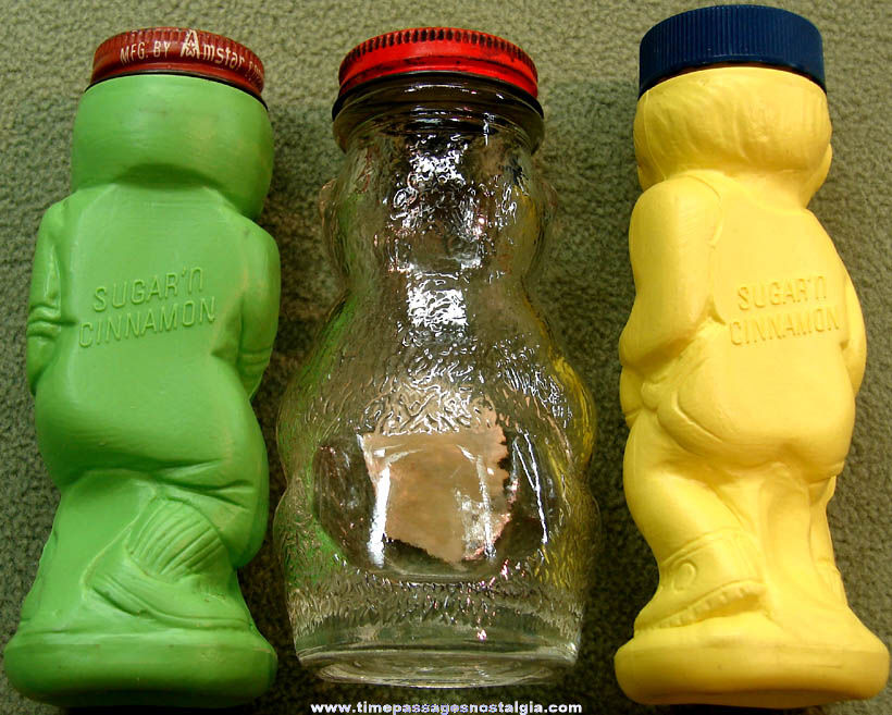 (3) Different Old Domino Sugar 'n Cinnamon Figure Shaker Containers