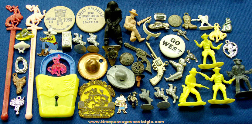 (48) Old Metal and Plastic Cowboy Related Miniature Novelty Toy and Souvenir Items