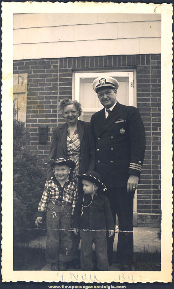 1951 Boy in Roy Rogers Cowboy Outfit & U.S. Navy Commander Photograph