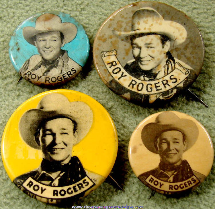 (4) Different Old Roy Rogers Movie Star Cowboy Pin Back Buttons