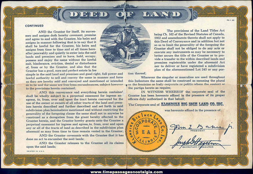 1955 Sergeant Preston of The Yukon Cereal Premium Klondike Big Inch Land Deed