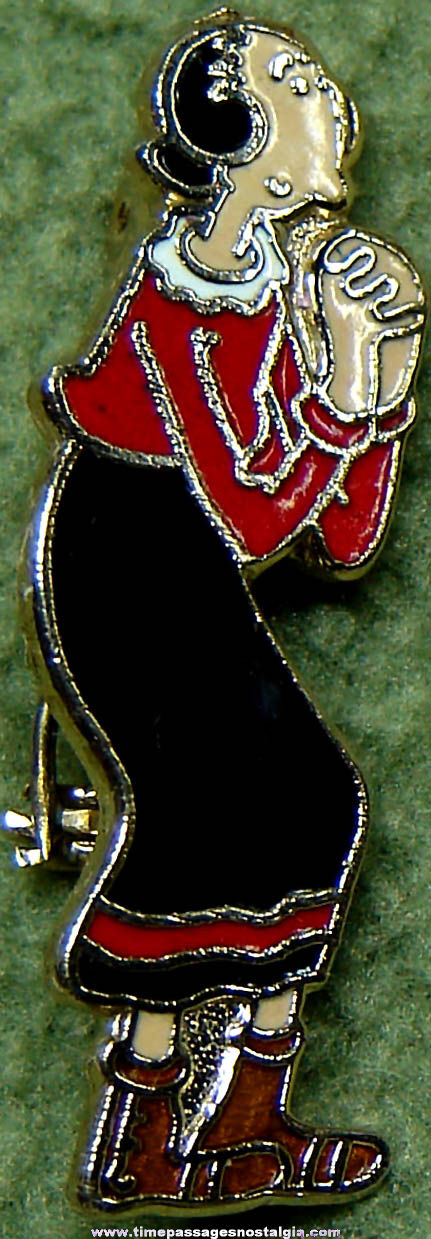 Old Enameled Popeye's Olive Oyl Cartoon Character King Features Syndicate Pin
