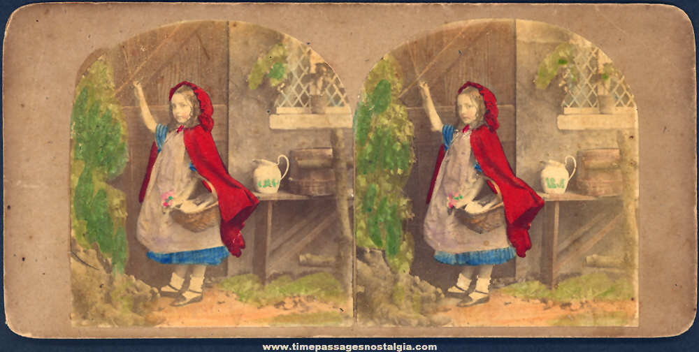 Old Little Red Riding Hood Nursery Rhyme Character Colored Stereo View Card