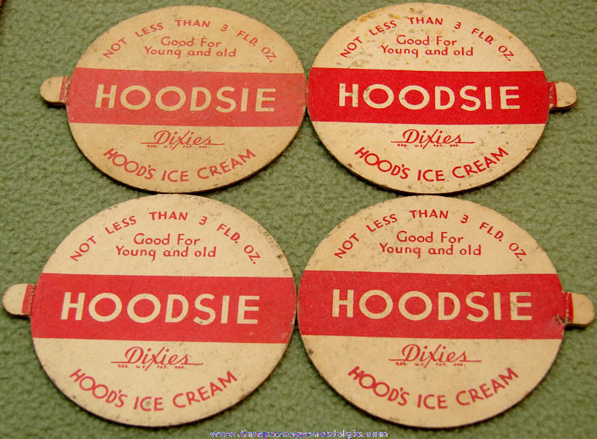 (4) Different Old Movie Star Hoodsie Ice Cream Cup Premium Lids