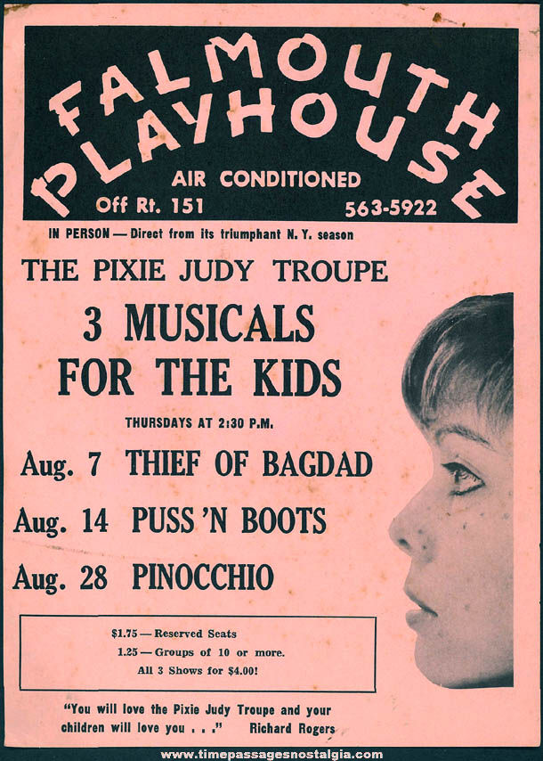 Old Pixie Judy Troupe Falmouth Playhouse Children's Theatre Advertising Playbill