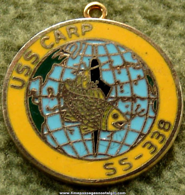 Old United States Navy Submarine U.S.S. Carp SS-338 Enameled Jewelry Charm or Pendant