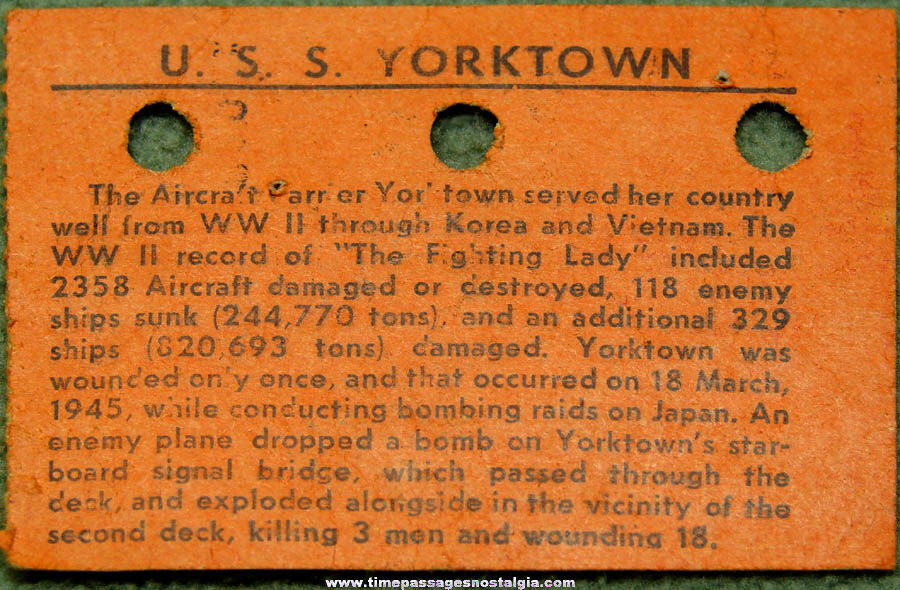 Old United States Navy Ship U.S.S. Yorktown CV-10 Aircraft Carrier Welcome Aboard Ticket