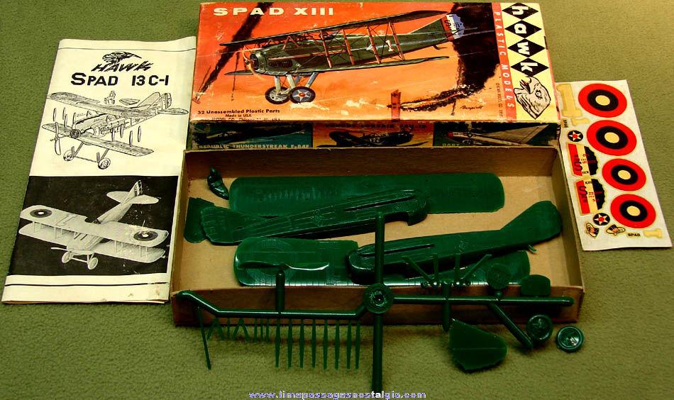 ©1957 - ©1958 Boxed Miniature World War I French SPAD XIII Biplane Fighter Airplane Hawk Plastic Model Kit