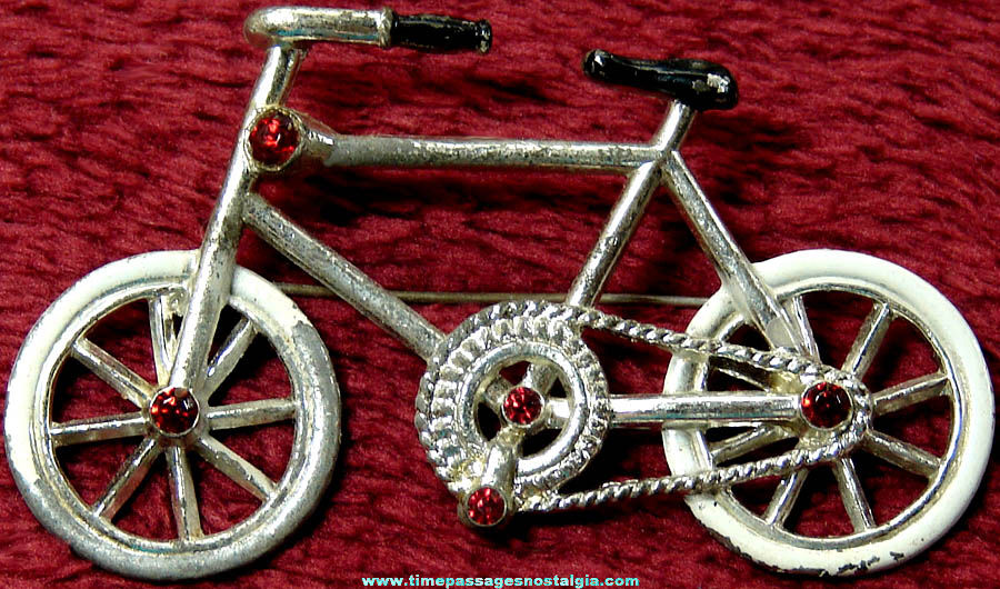 Old Painted Metal Bicycle Jewelry Pin With Red Stones