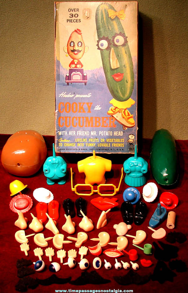 1966 Cooky Cucumber & Mr. Potato Head Box of Toy Parts