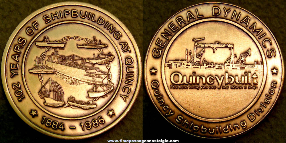 1986 General Dynamics Quincy Massachusetts Ship Building Advertising Medal Coin