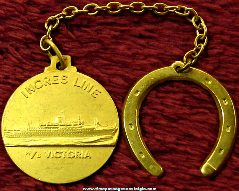 Old MS Victoria Incres Line Cruise Ship Advertising Souvenir Good Luck Key Chain