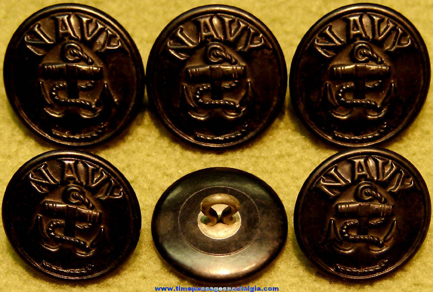 (6) Old United States Navy Sailor Uniform or Peacoat Buttons