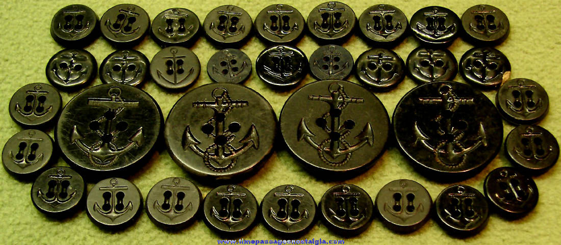 (35) Old United States Navy Sailor Uniform or Peacoat Buttons