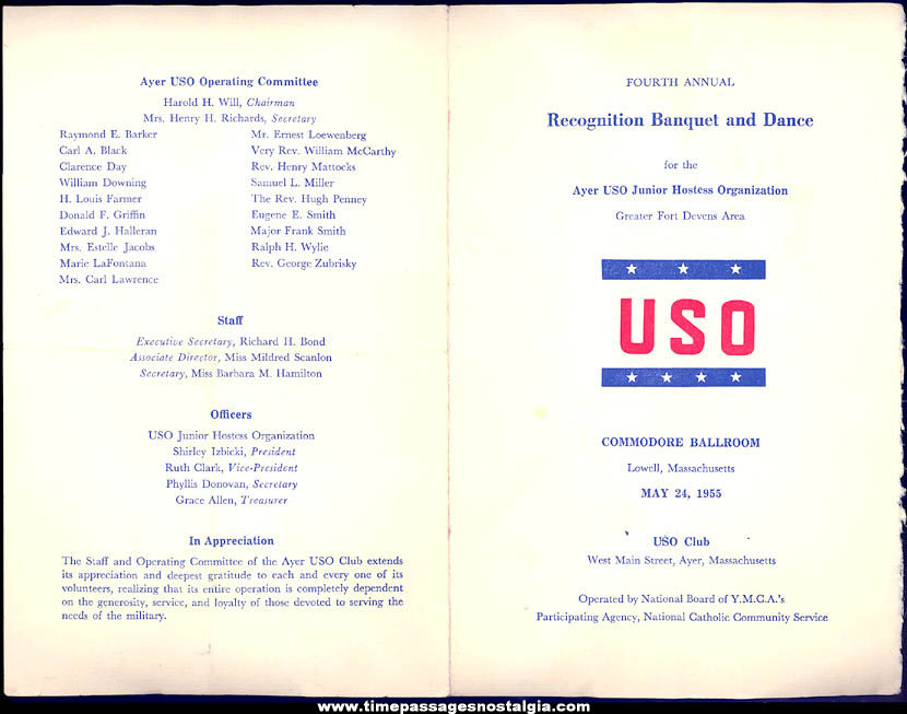 (2) Different 1950s United Service Organization USO Paper Advertising Items