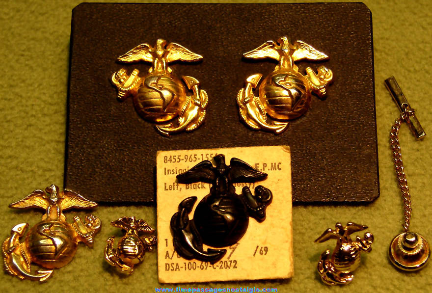 (6) Small Old United States Marine Corps Insignia Jewelry Items
