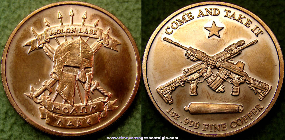 Molon Labe Gun or Weapon Promoting Copper Medal Coin