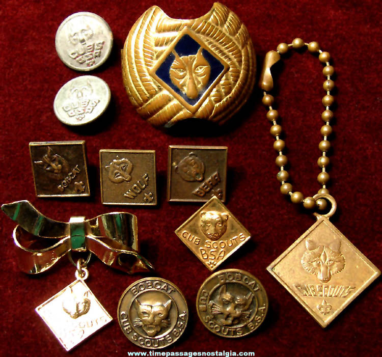 (11) Small Old Cub Scouts Uniform and Advertising Items