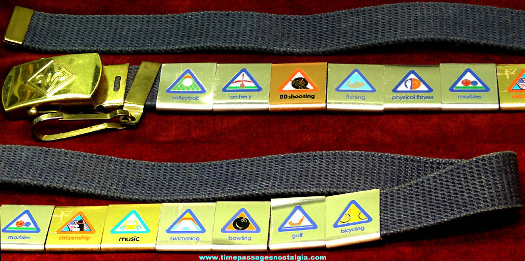 Old Webelos Uniform Belt with (12) Belt Loop Award Badges