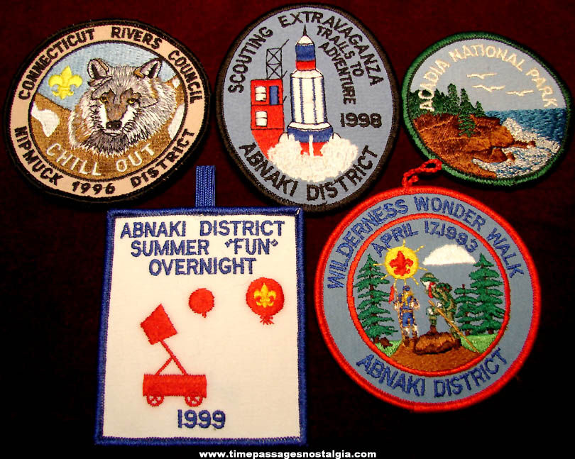 (5) Different Old Mixed Boy Scout Event Embroidered Cloth Patches