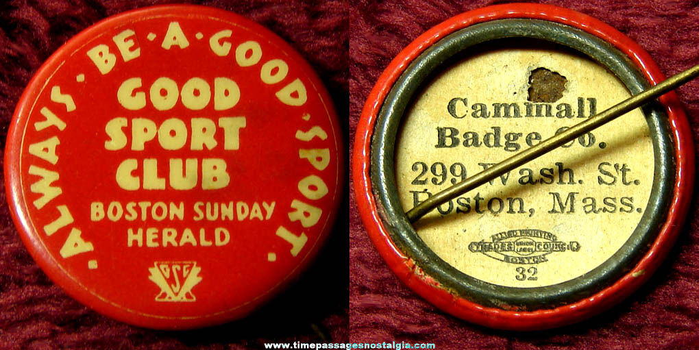 Old Boston Sunday Herald Good Sport Club Celluloid Pin Back Button
