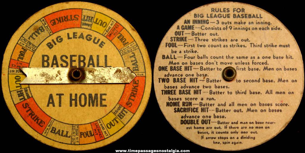 1946 Cracker Jack Pop Corn Confection Big League Baseball Prize Toy Spinner Game