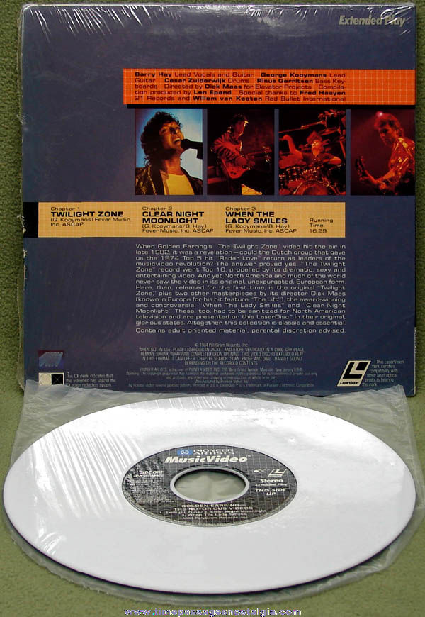 ©1984 Golden Earring Extended Play Music Video Laser Disc with Cover