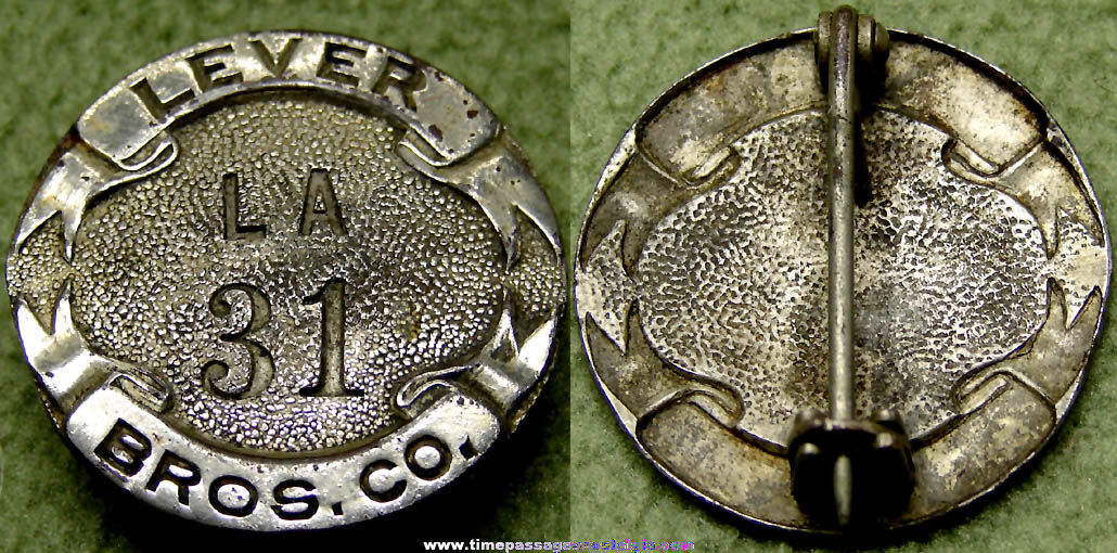 Old Embossed Lever Brothers Company Advertising Employee Badge Pin