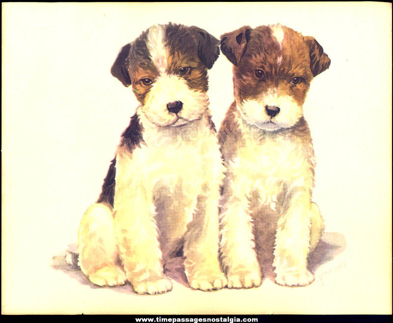 Old Grace Lopez Puppy or Dog Color Art Print