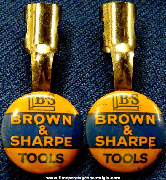 (2) Old Brown & Sharpe Tools Advertising Premium Lithographed Tin Pencil Clips