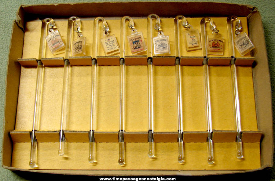 (8) Old Boxed Alcohol Advertising Glass Swizzle Drink Stir Sticks