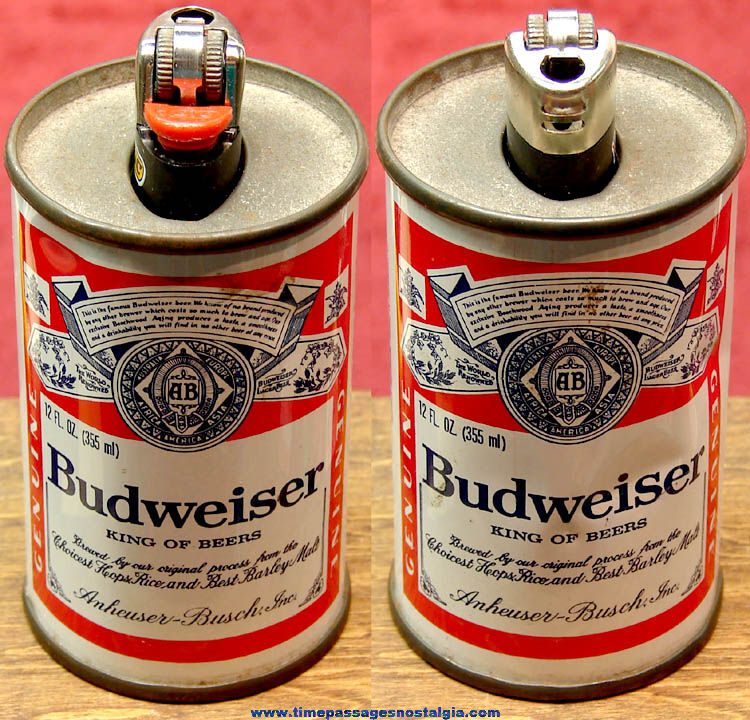 Old Budweiser Beer Advertising Tin Can Lighter Holder with Bic Lighter