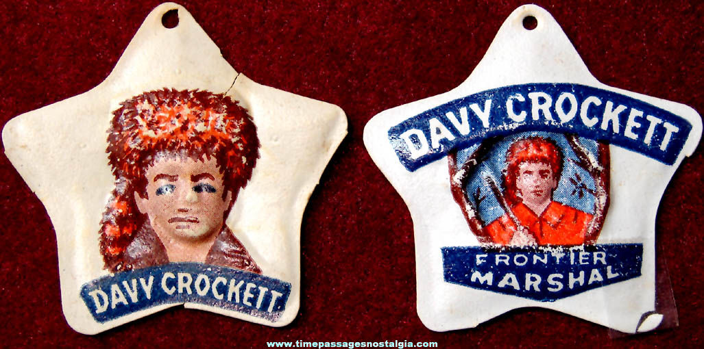(2) Different 1955 Cracker Jack Davy Crockett Vacuform Prize Badge Charms