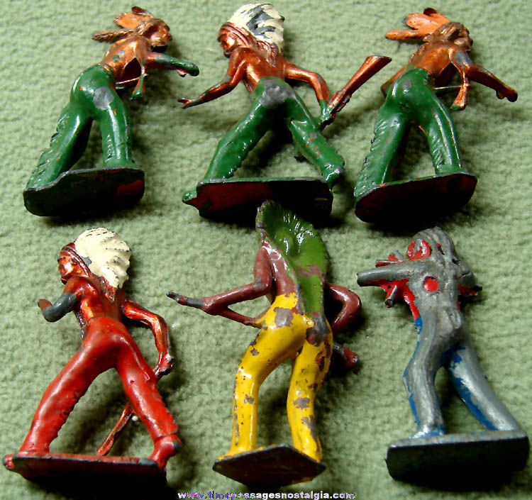 (6) Old Painted Metal Native American Indian Toy Play Set Figures