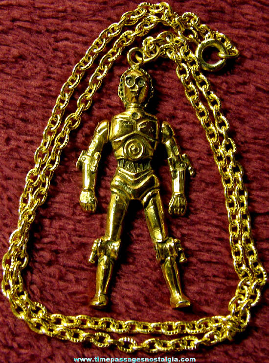 Old Star Wars C-3PO Robot Character Metal Figure Jewelry Necklace